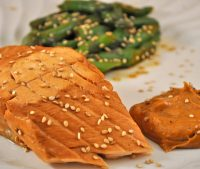 Red-Cooked Salmon with Sesame Asparagus